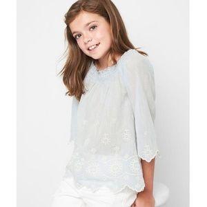 Gap girls baby blue and white eyelet blouse